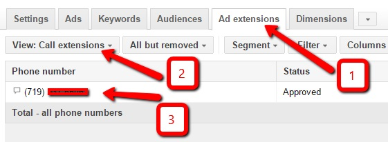 how to add your phone number in adwords